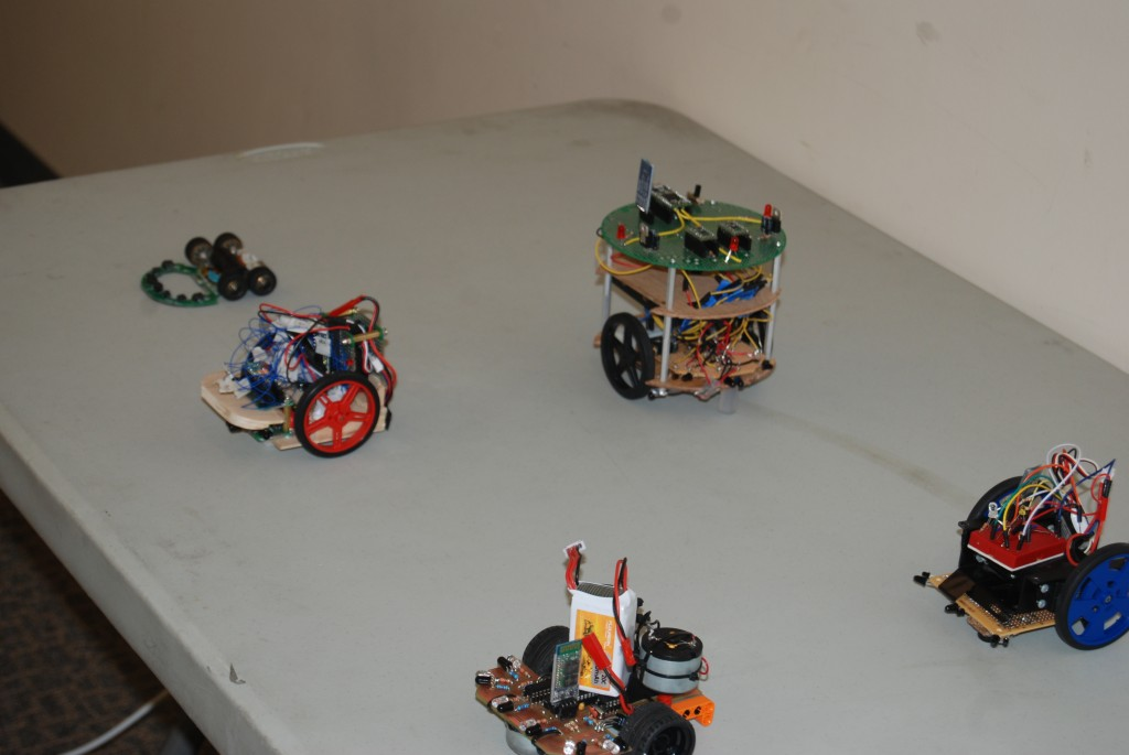 Line-up of some of the micromouses prior to competition