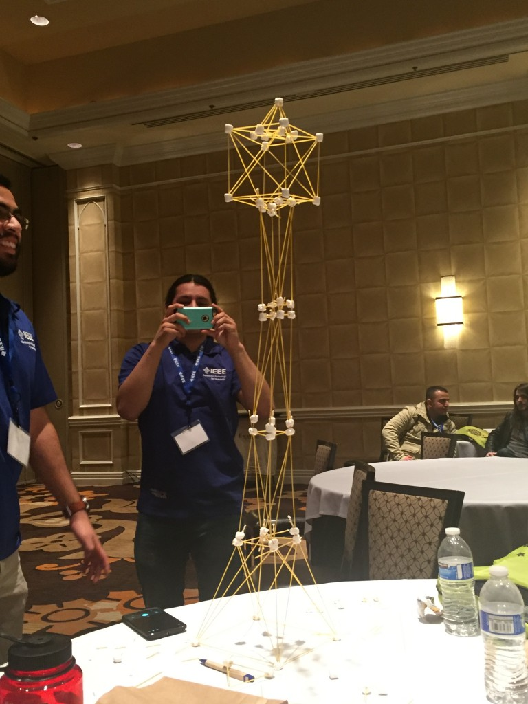 Our FINAL extra-tine effort building a marshmellow & spaghetti structure. Can the IEEE Foothill Students beat this height next year????