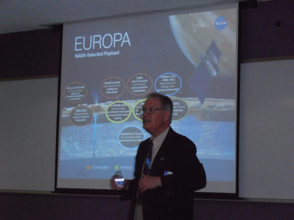 Our Presenter explains the plan to obtain more data on the ice, water, and cracks on EUROPA.
